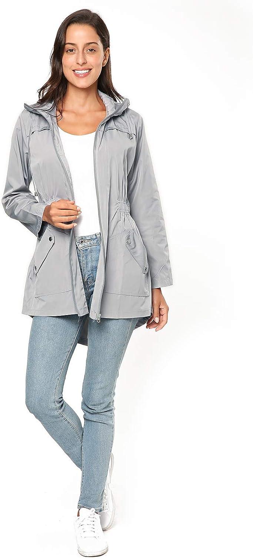 KENANCY Womens' Rain Jacket Hooded Waterproof Raincoat Outdoor Travel Coat