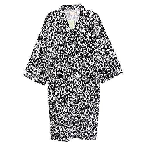 Kimono Pyjama Streifen Schlafanzug Einfarbig Hausanzug V Ausschnitt Bademantel Japan Wellen Morgenmantel Baumwolle Nachtwäsche Herren Schlafmantel Damen Sauna Baderock Kurz Saunamantel Spa Schlafrock