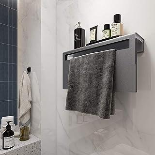 Kibath L428503 Toallero Secatoallas eléctrico KA, con un estante. Fabricado en aluminio con acabado en gris. De bajo consumo 60W, temperatura uniforme por toda la superficie