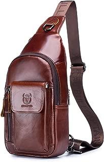 BULLCAPTAIN Sling Leather Backpack Multi-pocket Travel Shoulder Chest Bag Crossbody Daypack for Men with Earphone Hole XB-121
