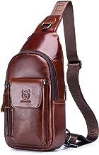 BULLCAPTAIN Genuine Leather Sling Backpack Multi-pocket Chest Bag Crossbody Daypack with Earphone Hole XB-121