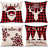 MMTX 4 Piezas Navidad Fundas de Cojines, muñeco de Nieve de Invierno, Papá Noel, para el hogar, Cojines Decorativos para Cojines Decorativos, Fundas de cojín de Navidad para sofá, para sofá Cama