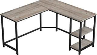 VASAGLE ALINRU L-Shaped Computer Desk, Corner Desk, Office Study Workstation with Shelves for Home Office, Space-Saving, Easy to Assemble, Industrial, Greige and Black ULWD72MB