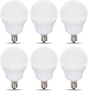 Simba Lighting LED Candelabra E12 Base G14 Small Globe 5W 40W Replacement Light Bulb for Ceiling Fan, Chandelier, Vanity, Round A15 Frosted White Cover, Non-Dimmable, 4000K Natural Light, Pack of 6