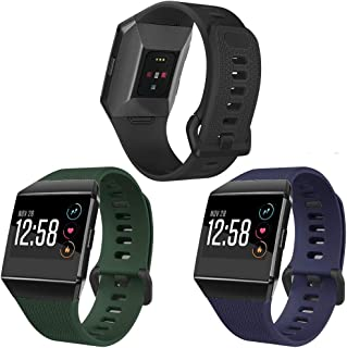 SKYLET Compatible with Fitbit Ionic Bands, 3 Pack Soft Sport Wristbands Compatible with Fitbit Ionic Smart Watch with Buck...