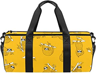 DJROWW Süße Baby-Faultiere, zum Aufhängen am Baum, gelber Druck, Reisetasche, Segeltuch, Reisetasche für Fitnessstudio, Sport, Tanz, Reisen, Wochenender
