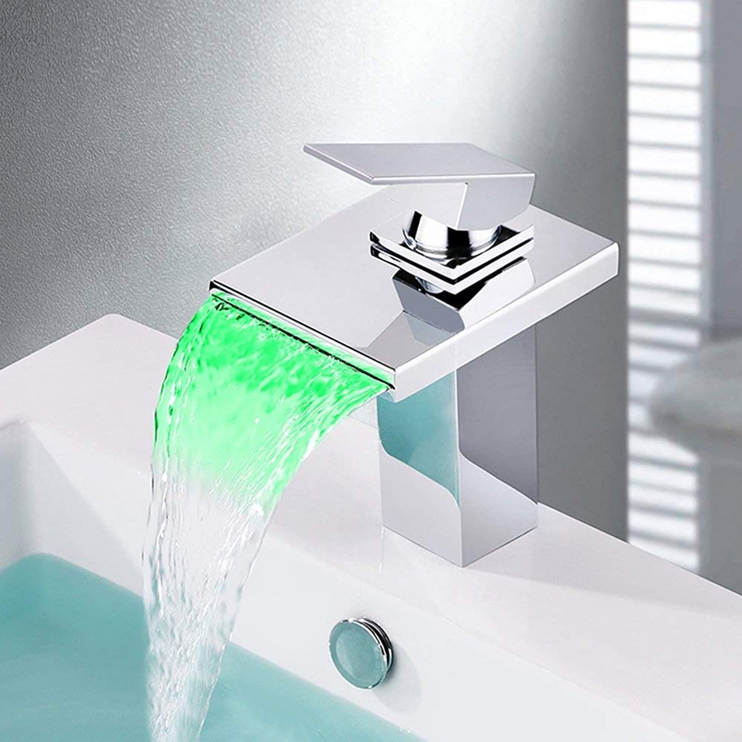 Fashion Chrome-Plated LED Temperature Control Waterfall Washbasin Faucet;European Single-Hole Hot And Cold Water Mixing Valve Bathroom Sink Faucet Hotel Apartment DIY Bathroom