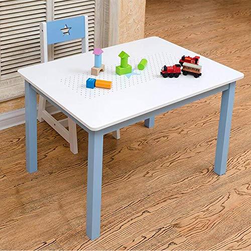 N/Z Tägliche Ausrüstung Tische Stühle Set Holzmöbel Jungen Mädchen Schreibtisch Kleinkinder Studie Spielen Kindergarten Blau