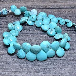 Cuentas facetadas de turquesa natural de 5 mm a 8 mm, briolette de corazón de piedras preciosas de turquesa | Cuentas de p...