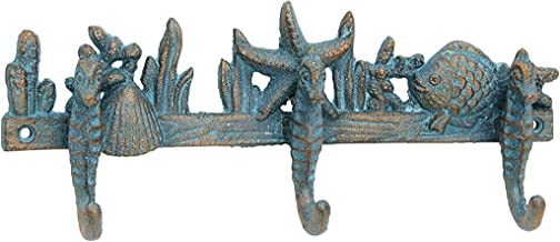 Stonebriar Turquoise Patina Cast Iron Seahorse Wall Hooks, SB-6009A, Turquoise, One Size