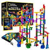 National Geographic Glowing Marble Run – 250 Piece Construction Set with 50 Glow in The Dark Glass Marbles, Mesh Storage Bag, Great Creative STEM Toy for Girls and Boys