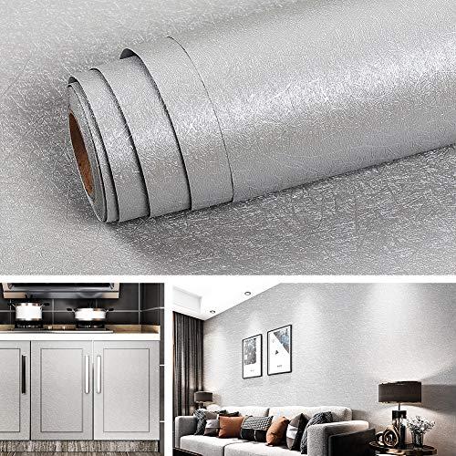 Livelynine Grau Tapete Schlafzimmer Modern Selbstklebende Tapete Badezimmer Wasserfest Selbstklebend Wandtapete Wohnzimmer Silber Klebe Tapete Grau Muster mit Seidenfaden 40CMx2M