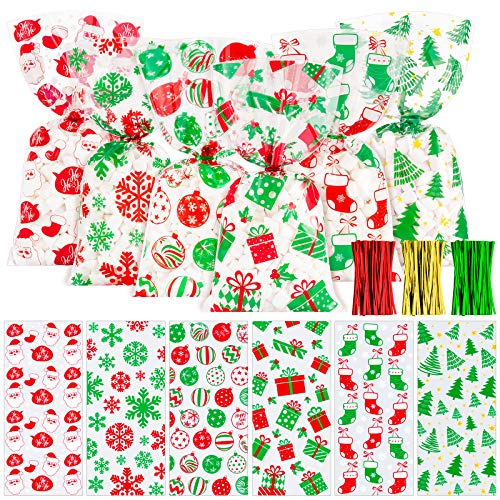 Whaline 150Pcs Christmas Cellophane Bags Cello Bags 6 Design with Twist Tie Candy Treat Bags Sweet Bags Snowman Xmas Tree Present Snowflake Boot Party Favors for Christmas Day Table Decor