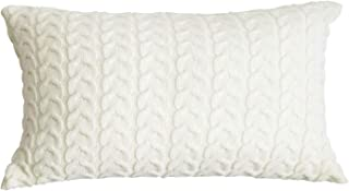 ToGeeKa Cable Knit Lumbar Decorative Throw Pillow Covers Cotton Warm Classical Twist Pattern Cushion Case for Couch Sofa Bedroom Office Car, 12 x 20 inch (30 x 50 cm), Cream