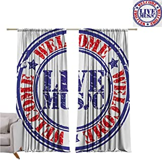 Andrea Sam Black Curtains Popstar Party,Grunge Damaged Looking Welcome Live Music Rubber Stamp Festival Symbol,Blue Red White W84 x L96 inch,for Bedroom Embroidery Curtain for Living Room