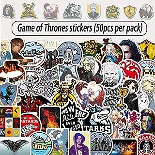 ملصقات بيوتي4U-- 50 قطعة من ملصقات مسلسل جيم أوف ثرونز تستخدم لتزيين الأمتعة لوح التزلج للكمبيوتر المحمول والدراجات الناري...
