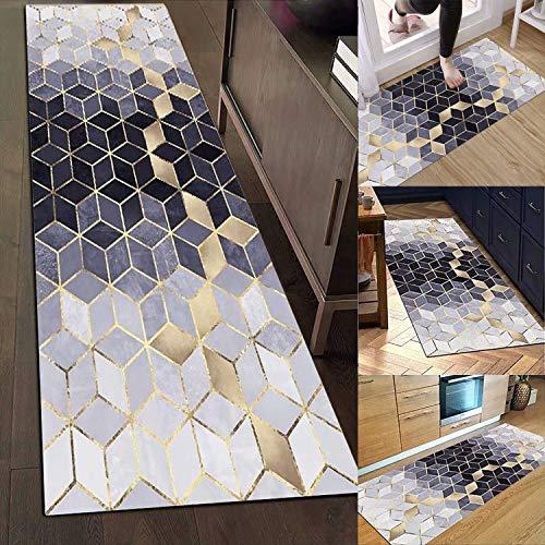 Muchas Alfombra pequeña, Alfombra Salon Vinilo, Alfombra Vinilo Cocina azulejo, Diseño Moderno Antideslizante para Sala de Estar, Dormitorio, Entrada - Plata 60x260cm