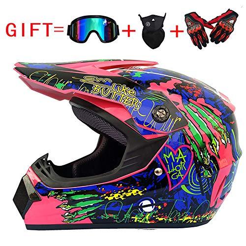 Wenyan Adulte Motocross Casque Moto Et MX Motocross Adulte (Gants, Lunettes, Masque, Ensemble De 4 Pièces),Pink/Wolfclaw,XL