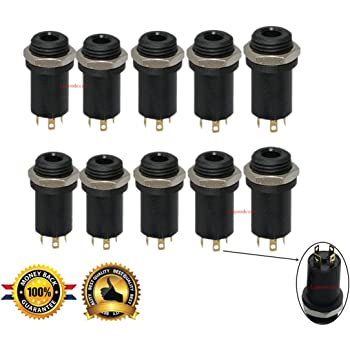3.5MM Mini Stereo Panel Mount Jack Solder Connector - 3.5MM Headphone Audio Video Female Vertical Jack Socket Plug with Nuts,Full Gold-Plated High Temperature 4 Channel, Pack of 10, Sold By Lsgoodcare