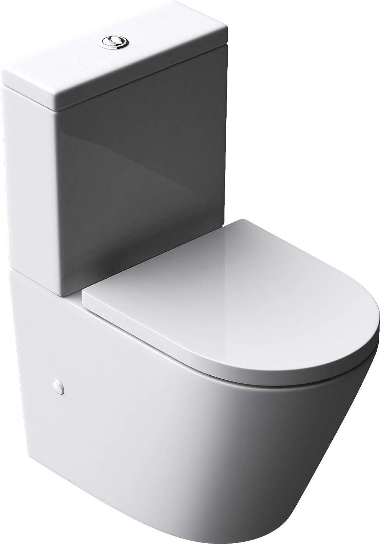 Design Stand-WC Toilette Aachen179T bodenstehend Tiefspüler mit Silent-Close spülrandlose Toilette spülrandloses WC