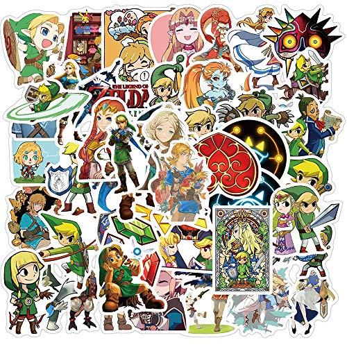 Pegatina de anime Zelda 50 unids/lote coche motocicleta viaje equipaje guitarra impermeable dibujos animados calcomanías broma juguete regalo