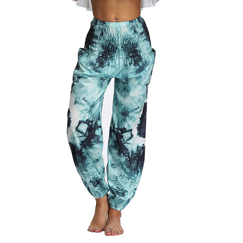 Womens Harem Pants Boho Wide Leg Shirred Elastic Waist Baggy Pant Stretch Tapered Trousers Patchwork Hippie Yoga Summer Casual 2019