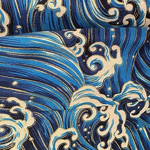 Rancheng 50x150cm Coton Tissu Imprimé Style japonais Tissus au Metres Matériel DIY Couture pour Vêtements Nappe Rideau Patchwork Artisanats tissu a coudre Bricolage #spindrift-bleu