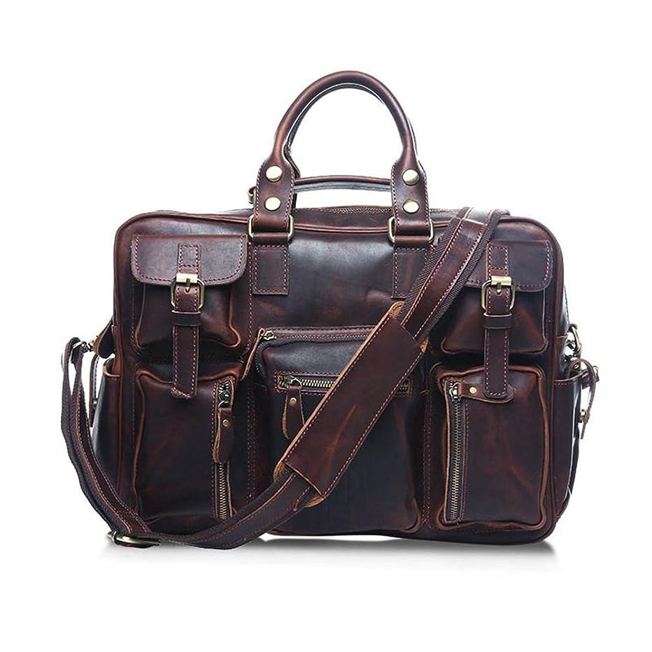KIMIBen-CMB Laptop Briefcase, Men's Messenger Bag Vintage Leather Briefcase Satchel Shoulder Crossbody Handbag Fit 15
