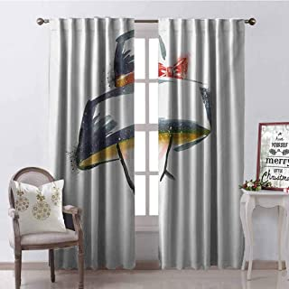 GUUVOR Modern Wear-Resistant Color Curtain Modern Fashion Woman with Vintage Stylized Hat Romantic Artistic Print Waterproof Fabric W96 x G96 Inch Blue Grey Red Yellow