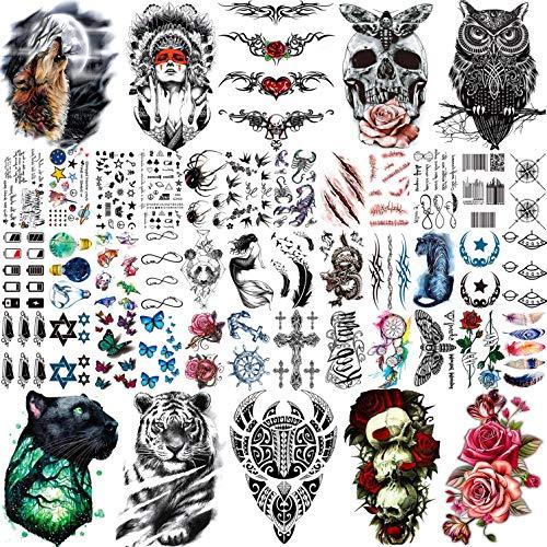COKTAK 46 Blätter Groß Schädel Maori Krieger Temporäre Tattoos Männer, Realistische Tiger Eule Blume Temporäre Tattoos Frauen Damen, Klein Kinder Tattoos Temporär, Hals Gesicht Tatoos Aufkleber Bunt