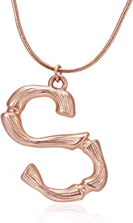 Big Large Initial Necklace Stainless Steel Rose Gold Letter Chain Script Name Pendant for Girl Women's Gift …