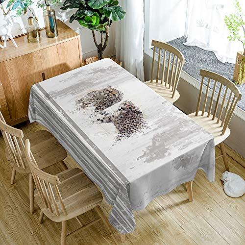 Tafelkleed moderne minimalistische cartoon luipaard outdoor decoratie tafelkleed huishoudelijke artikelen (55x78 inch, rechthoekig, polyester)