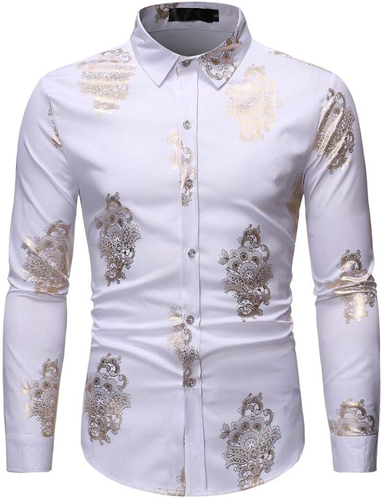 Men's Dress Shirt, Slim Fit Long Sleeve Shirt, Button Down Shirt, Regular Fit Casual Shirt Tops for Party Dinner Wedding