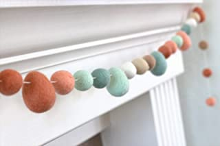 "Easter Egg & Felt Ball Garland- Balls & Eggs in Terra Cotta, Peach, Teal - 1"" (2.5 cm) Wool Felt Balls"