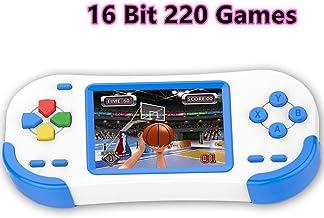 Bornkid 16 bits Consola de Juegos de Mano para Niños y Adultos con 220 Clásico Interesante Videojuegos 3.0 '' Pantalla Grande USB Recargable Seniors Electrónicos Juego (Azul)