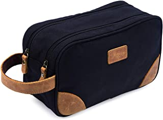 Kemy's Mens Toiletry Bag Leather Canvas Toiletries Travel Bag Grooming Shaving Bags for Men Dopp Dob Dobb Kits Toilet Hygi...