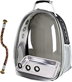 Bird Carrier Cage, Bird Travel Backpack with Stainless Steel Tray and Standing Perch (Grey)