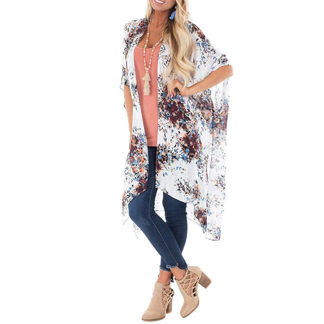 Womens Cover Up Cardigan Printing Middle Sleeve Long Smock Blouse Tops Swimwear