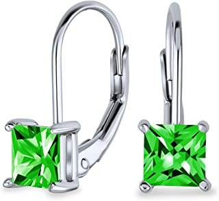Bridal 1CT Brilliant Princess Cut Solitaire Square AAA CZ Leverback Drop Earrings For Women Sterling Silver More Colors