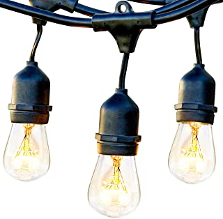 Brightech Ambience Pro - Waterproof Outdoor String Lights - Hanging Vintage 11W Edison Bulbs - 24 Ft Bistro Lights Create Great Ambience in Your Backyard, Gazebo
