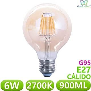 Bombilla LED Globo Filamento 6W equivalente 90W GNETIC GLASS E27 Casquillo gordo G95 95x138mm 900ML 2700K Luz Blanco Cálido 30000h Equivalente a 90W [Eficiencia energética A+]