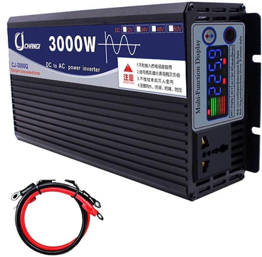 XBNBQ Inversor de Onda sinusoidal Pura de 3000W DC 12V / 24V a AC 220V Inversor de Corriente Inversores de Corriente Continua de Alta eficiencia para teléfonos Inteligentes Tableta24V-3000W