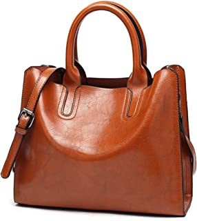 Men's Accessories New Large-Capacity PU Glossy Patent Leather Handbag Messenger Bag, Brown Outdoor Recreation