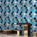 Negro y oro Mármol Pegatinas de azulejos Pegatinas de pared Etiquetas de pared Decorativo Extrovable Peel & Stick para la cocina Backsplash ( Color : Mermaid vine mosaic , Size : 15x15cmx10pcs )