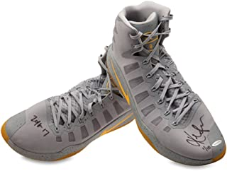 KEVIN LOVE SIGNED/INSCRIBED 2016-17 NIKE HYPERDUNK GRAY/YELLOW SWOOSH GAME-WORN SHOES -L10