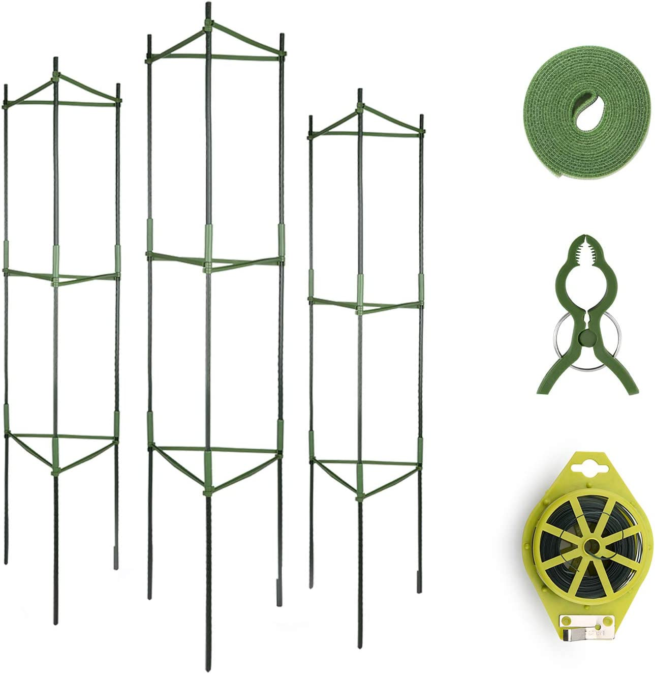 GROWNEER 6 Packs Plant Cages Assembled Tomato Garden Cages Stakes Vegetable Trellis, with 18Pcs Clips, 78 Inches Garden Ties and 328 Feet Twist Tie, for Vertical Climbing Plants