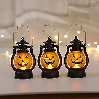 Shuye Drie decoratieve verlichting voor Halloween met pompoen, geschikt als Halloween-decoratie, draagbare lamp voor kinde...