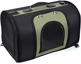 MAOSHE Pet Bag Green Black Pet Bag Out Portable Dog Cage air Box Suitcase Puppy Dog Korean Version of The Four Seasons Bag...