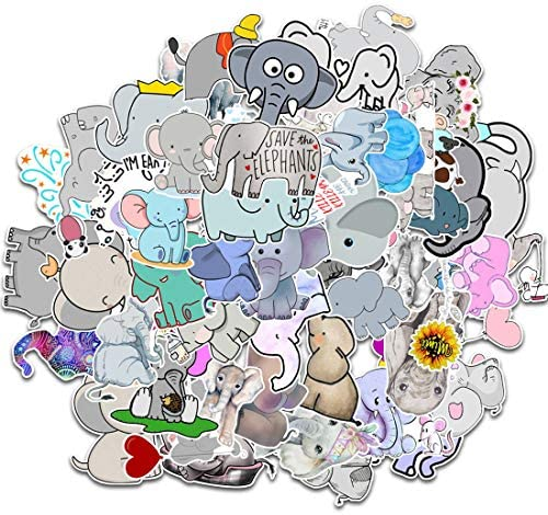 50pcs Cute Elephant Stickers Waterproof Small Vinyl Decals for Water Bottles Cars Laptop Wall product image