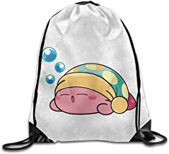 Funny Cute Sleeping Kirby Sport Backpack Drawstring Print Bag